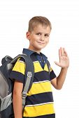 pic of bagpack  - Schoolboy sitting on books isolated on a white background - JPG