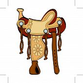 picture of western saddle  - Saddle in cartoon western style for a cowboy and his horse - JPG
