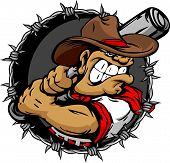 stock photo of wrangler  - Baseball Cartoon Cowboy with Bat Vector Illustration - JPG