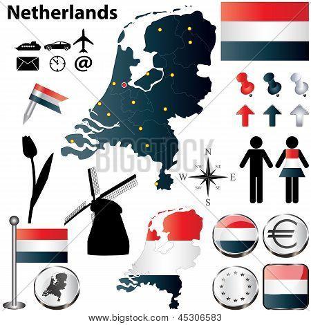 荷兰的地图 库存矢量图和库存照片
