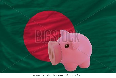 Piggy Rich Bank And  National Flag Of Bangladesh