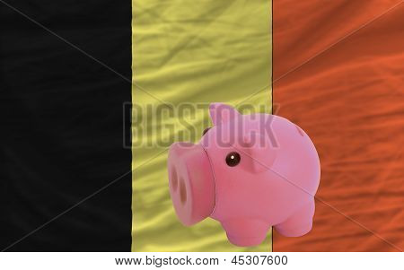 Piggy Rich Bank And  National Flag Of Belgium