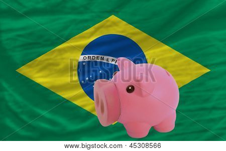 Piggy Rich Bank And  National Flag Of Brazil