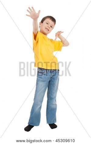 boy in yellow t-shirt saw the air