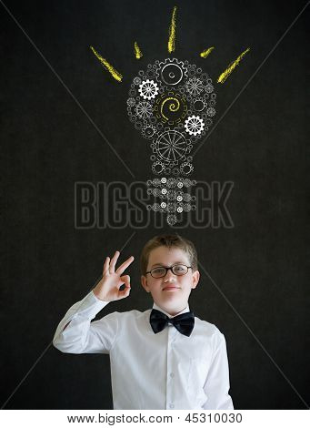 All Ok Boy Dressed As Business Man With Bright Idea Gear Cog Lightbulb