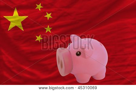 Piggy Rich Bank And  National Flag Of China