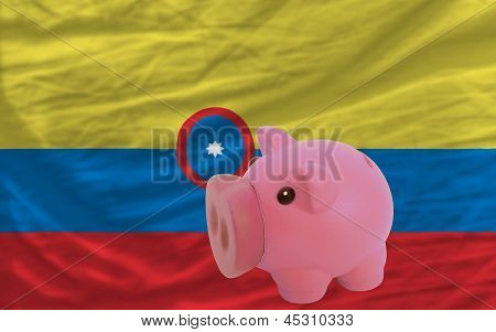 Piggy Rich Bank And  National Flag Of Columbia