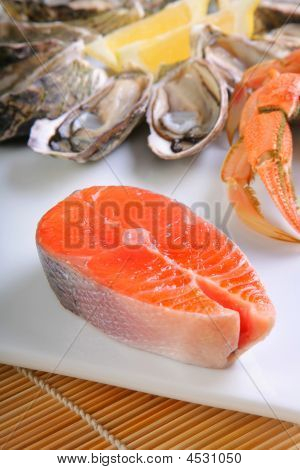 Atlantic Salmon Cutlet With Crab And Oysters