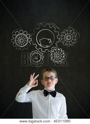 All Ok Boy Dressed As Business Man With Chalk Turning Gear Cogs And Running Hamster