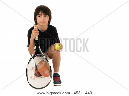 Portrait Of A Handsome Boy With A Tennis Racket Isolated On White Background