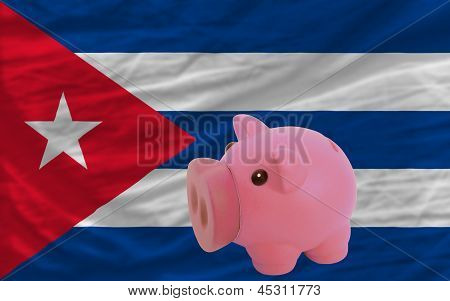 Piggy Rich Bank And  National Flag Of Cuba