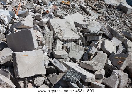 Concrete Debris On Construction Site