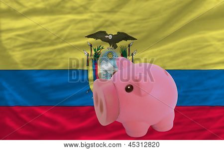 Piggy Rich Bank And  National Flag Of Ecuador