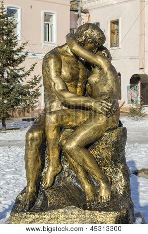 Irkutsk, Russia - Nov.18, 2012: Sculpture  Lovers  in Nov.18,2012 in Irkutsk, Russia
