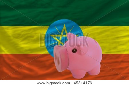 Piggy Rich Bank And  National Flag Of Ethiopia