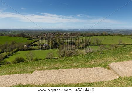 View from Glastonbury Tor of Somerset