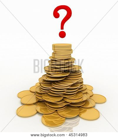 pile of gold chinks and question-mark. 3d illustration isolated on the white background