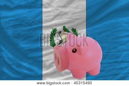 Piggy Rich Bank And  National Flag Of Guatemala
