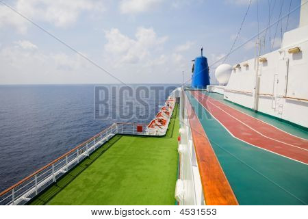 Outside On The Top Deck Of A Cruise Ship