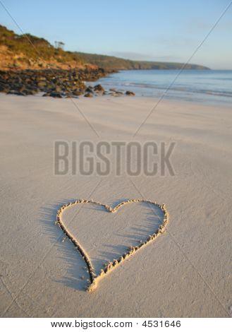 Love Heart Drawn On A Remote Beach