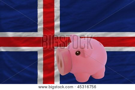 Piggy Rich Bank And  National Flag Of Iceland