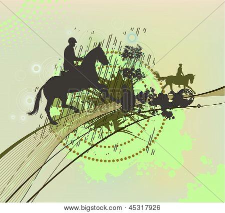 Abstract Daub With Horsemen
