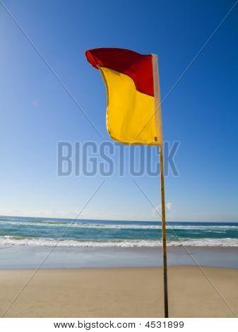 Safe Swimming Area Flag Gold Coast Queensland Australia