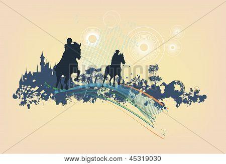 Horsemen On Abstract Blot Background