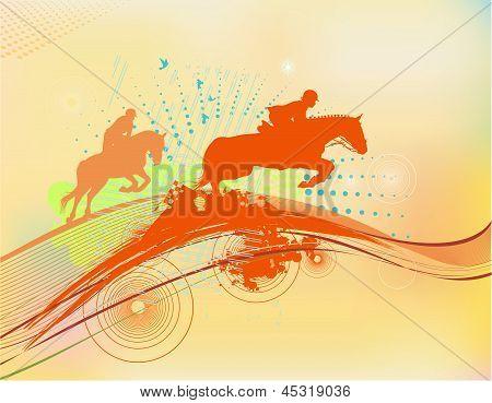 Rider Silhouette In Orange Color