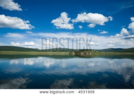 Reflection In Lake Khovsgol Northern Mongolia Central Asia
