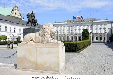 WARSAW, POLAND - MAY 8: Sculpture of a lion in front of the Polish Presidential Palace on May 8, 2013 in Warsaw, Poland. Palace is the seat of the Polish president.