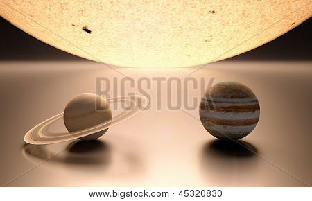 The Sun Planet Jupiter And Saturn Blank