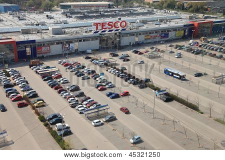 BUDAORS, HUNGARY - APRIL 21: Aerial view of a Tesco supermarket, April 21th 2013. Tesco is the third-largest retailer in the world measured by revenues.