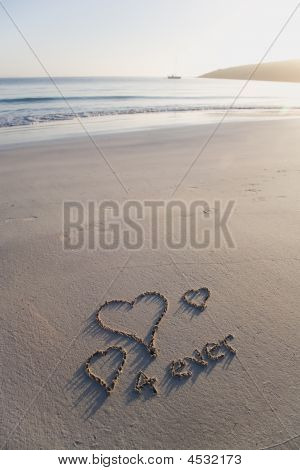Love Hearts And Forever Written On A Pristine Beach