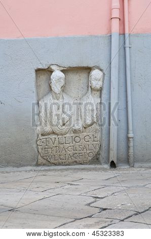 Monumental inscription. Venosa. Basilicata. Italy.
