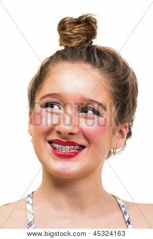 Beautiful Girl With Dental Brace