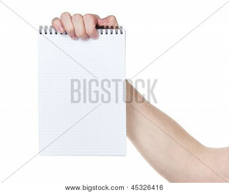 Adult Man Hand Holding Notebook On A Spring