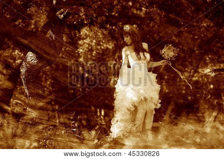 retro sepia photo, lonely woman in white dress at wedding bride
