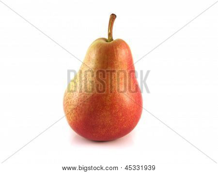 Ripe red pear on white background. Isolated fruit.
