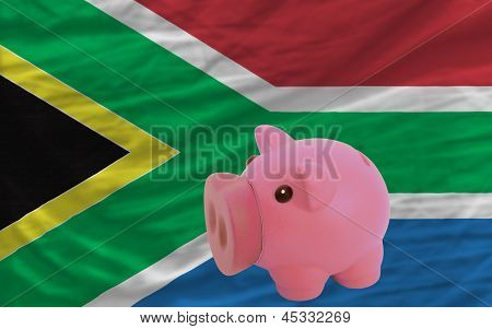 Piggy Rich Bank And  National Flag Of South Africa