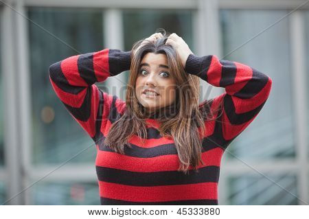 Overweight woman looking frustrated