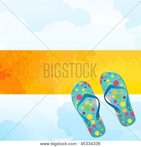 summer theme sunshine banner flipflops and clouds