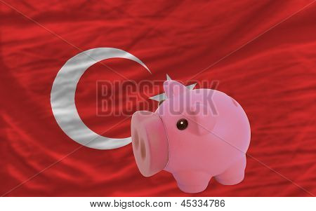 Piggy Rich Bank And  National Flag Of Turkey