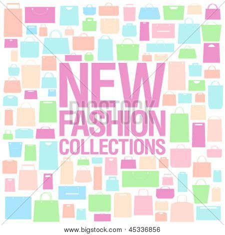 New fashion collections design template with shopping bags pattern.