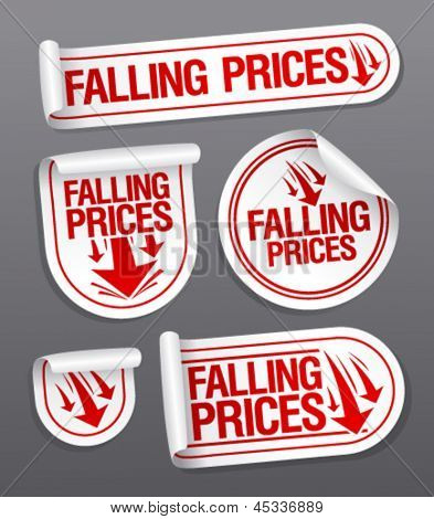 Falling Prices stickers set.