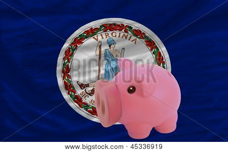 Piggy Rich Bank And  Flag Of American State Of Virginia