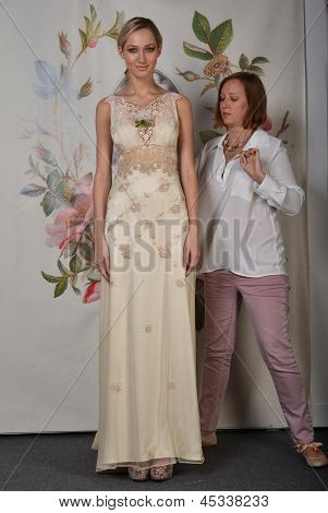 NEW YORK - APRIL 22: Designer Claire Pettibone setting style during for Claire Pettibone bridal pres