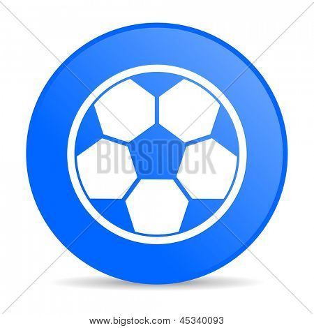 soccer blue circle web glossy icon