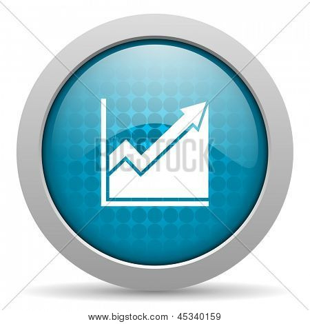 histogram blauwe cirkel web glanzende pictogram