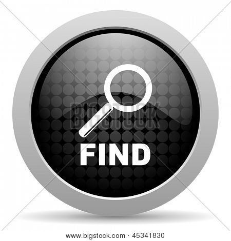 find black circle web glossy icon